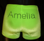 Neon green velour personalised shorts